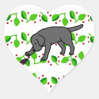 Hojas amistosas de Labrador del dibujo animado del Calcomania Corazon