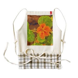 Hojas anaranjadas de la flor y del verde delantal zazzle HEART
