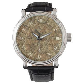 Hojas antiguas de la hoja de William Morris del Relojes