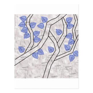 hojas azul marino tarjetas postales