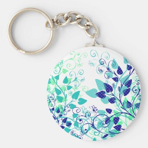Hojas azules de la primavera llavero personalizado
