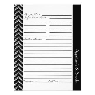 """Hojas blancas negras de la receta de los galones d folleto 8.5"""" x 11"""""""