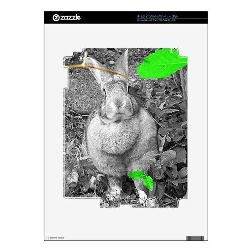 Hojas blancos y negros del verde del conejo gigant iPad 2 calcomanía