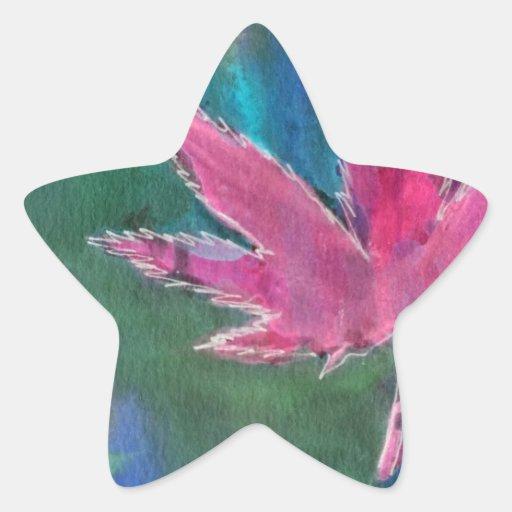 Hojas bonitas del pote calcomanías forma de estrella personalizadas
