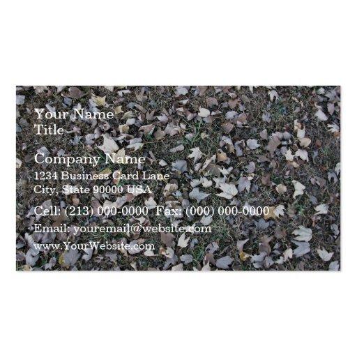 Hojas caidas en hierba tarjetas de visita