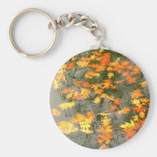 hojas caidas en lluvia llavero redondo tipo pin