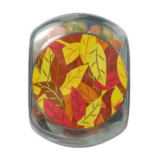 Hojas calientes coloreadas modelo del otoño jarras de cristal jelly bely