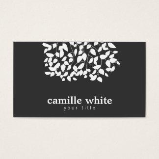Hojas caprichosas blancos y negros tarjeta de negocios
