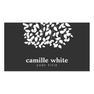 Hojas caprichosas blancos y negros tarjetas de visita