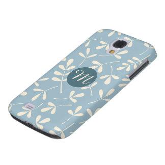 Hojas clasificadas de la crema en Ptn azul Funda Para Galaxy S4