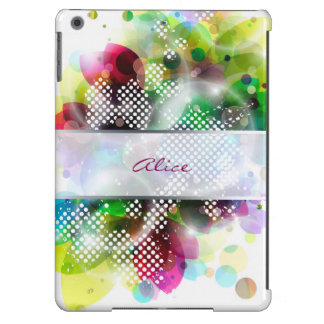 hojas coloridas abstractas con el lugar para el funda para iPad air