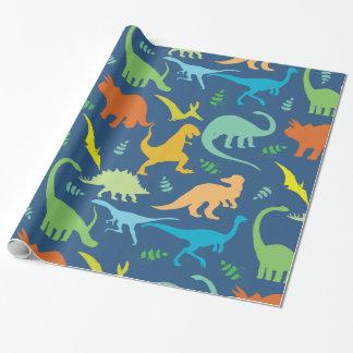 Hojas coloridas del modelo del dinosaurio papel de regalo