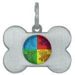 Hojas coloridas del roble del arte pop placas mascota
