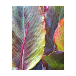 Hojas coloridas florales impresión en lienzo