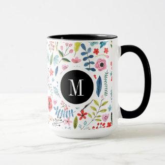 Hojas coloridas lindas y flores del modelo taza