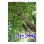 Hojas Cumpleaños-que remolinan felices Felicitación