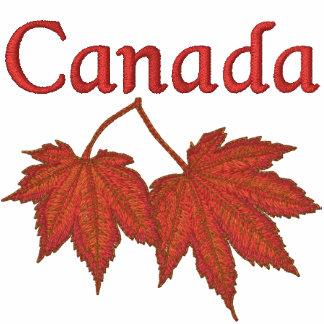 Hojas de arce canadienses polo bordado