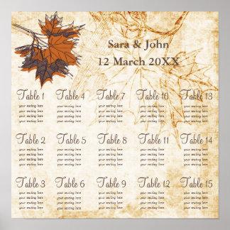 hojas de arce, carta rústica del asiento del boda póster