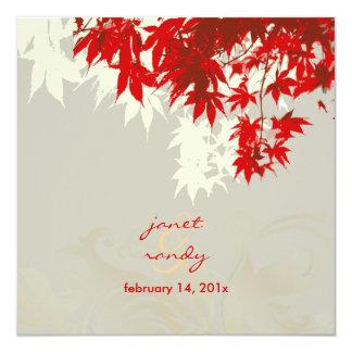 Hojas de arce de PixDezines/invitaciones rojas de Invitación Personalizada