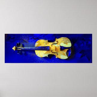 Hojas de arce del azul del zafiro del violín del póster