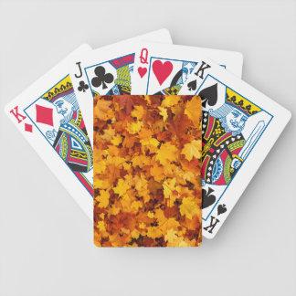 Hojas de arce del otoño baraja de cartas