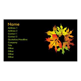 hojas de arce tarjetas de visita