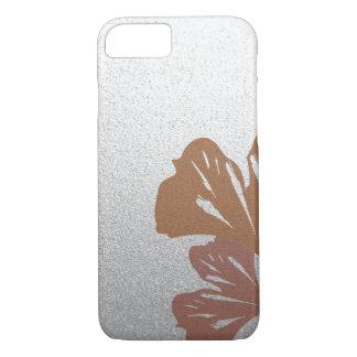 Hojas de bronce del Ginkgo en el modelo de plata Funda iPhone 7