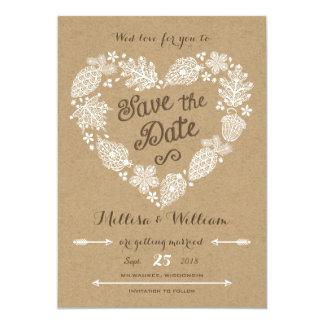 Hojas de encaje - caída en reserva del amor la invitación 12,7 x 17,8 cm