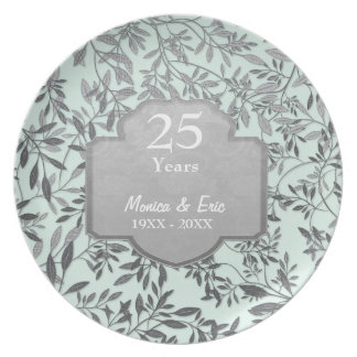 Hojas de la 25ta placa del aniversario de boda de platos