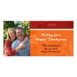 Hojas de la acción de gracias tarjeta fotografica