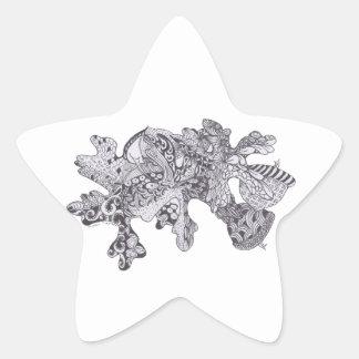 Hojas de la caída con las bellotas pegatina en forma de estrella