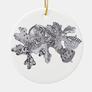 Hojas de la caída de Zentangle con las bellotas Adorno De Navidad