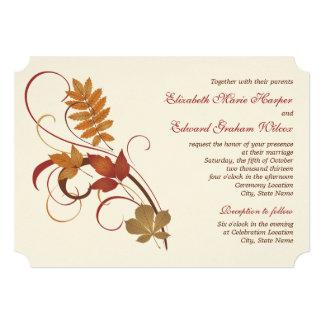 Hojas de la caída del otoño de la invitación el | invitación 12,7 x 17,8 cm