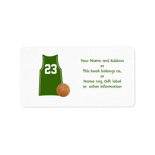 Hojas de la camisa de la camiseta del baloncesto d etiquetas de dirección