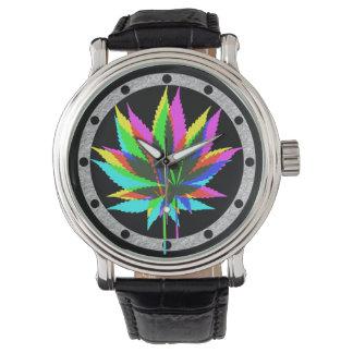 Hojas de la planta silvestre - neón coloreado + reloj