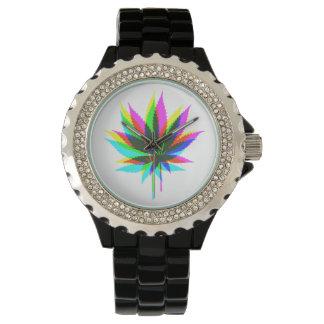 Hojas de la planta silvestre - neón coloreado + relojes