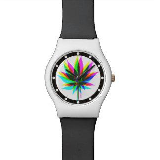 Hojas de la planta silvestre - neón coloreado + relojes de mano