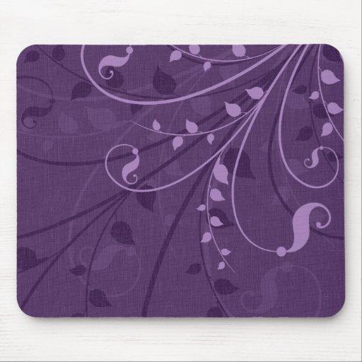 Hojas de la púrpura de Swirly Mouse Pad