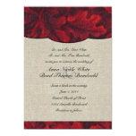 Hojas de la tela del rojo rico y invitación de invitación 12,7 x 17,8 cm