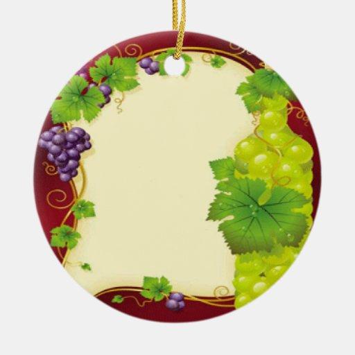 Hojas de la uva adorno navideño redondo de cerámica