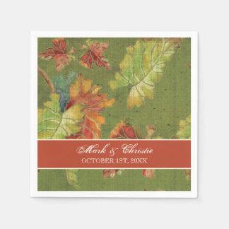 Hojas de la uva de la caída del otoño de las servilleta de papel