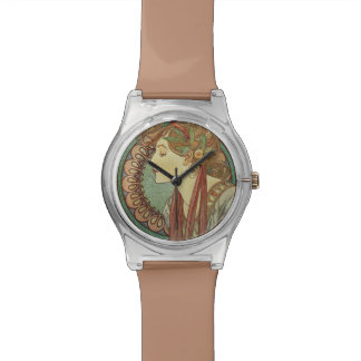 Hojas de las tejas de mosaico de señora Green del  Relojes De Pulsera