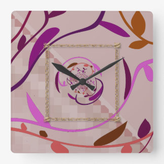 Hojas de los pixeles N Reloj De Pared