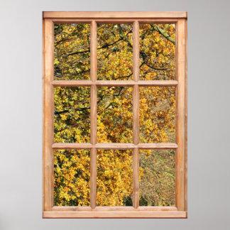 Hojas de oro del otoño de una ventana posters