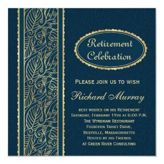 Hojas de oro en el fiesta de retiro azul marino invitación 13,3 cm x 13,3cm