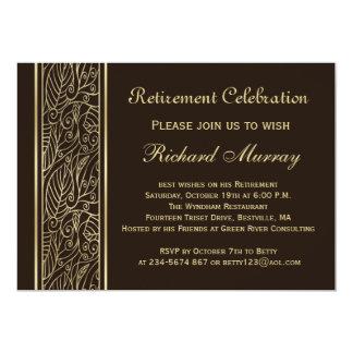 Hojas de oro en el fiesta de retiro marrón invitación 12,7 x 17,8 cm