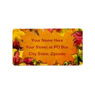 Hojas de otoño 1 etiqueta de dirección