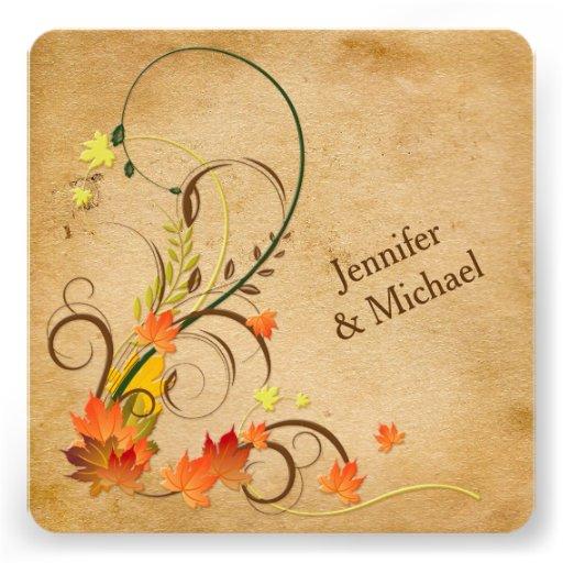 Hojas de otoño abstractas, vides que casan la invi anuncios personalizados