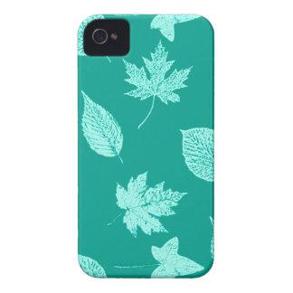 Hojas de otoño - aguamarina y turquesa Case-Mate iPhone 4 carcasas