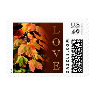 Hojas de otoño Amor Estampilla Franqueo